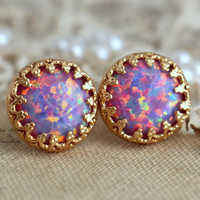 Opal Stud Purple violet earrings Green bridesmaids gift - 14k Gold filled Crown settings Opal stone spring summer collection.