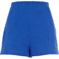River Island Womens Blue boucle high waisted shorts