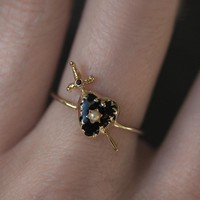 DEVOTION. Black Heart & Sword Gold Ring – REGALROSE