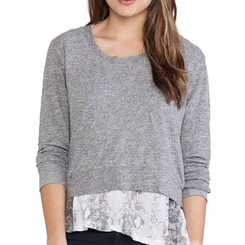 MONROW Snake Print Double Layer Jersey Sweatshirt in Gray
