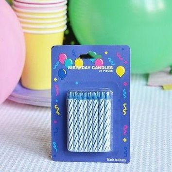 "48 Blue Candy Striped Birthday Candles 2"" Candle Stick Cake Topper Aqua White"
