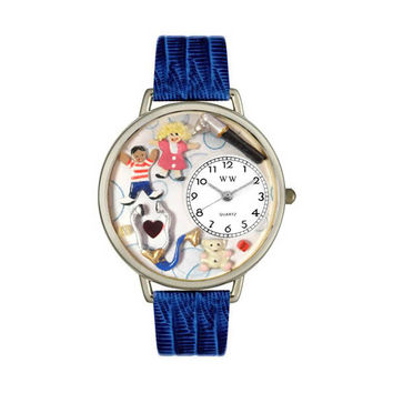 Whimsical Watches Designed Painted Pediatrician Royal Blue Leather And Silvertone Watch