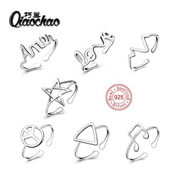 7pcs Collection Star and Peace mark Trail Stackable Finger Ring For Women Wedding 100% 925 Sterling Silver Jewelry