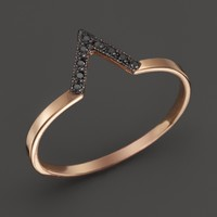 Zoë Chicco 14K Rose Gold Black Pavé Diamond Small V Ring