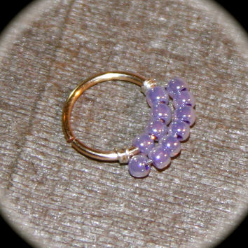 Septum Ring/Nose Ring,  Lilac Beaded Hoop, 22 20 18 16 gauge Cartilage Earrings, Nose Hoop, Helix Hoop, Nose Rings, Septum, Piercing Jewelry