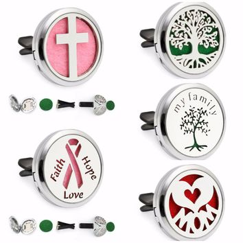 Tree of Life Cross Mom Heart Ribbon Magnet 30mm Car Diffuser Locket Removable Vent Clip Aromatherapy Perfume Locket 10pcs Pads
