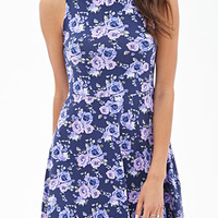 FOREVER 21 Clustered Rose Skater Dress