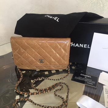 CHANEL Camel Patent Leather Wallet on a Chain WOC Bag Cross Body~~~ FULL SET~~~