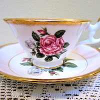 Tea Cup and Saucer E B Foley England Vintage Pink Rose Teacup Floral China blm