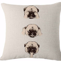 Pug Eyes, Ears, Mouth pillow cover