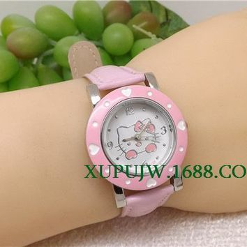3Color Fashion Cartoon Watch Hello Kitty Watch for Girls Kid Children Casual leather Quartz Wristwatches Reloj