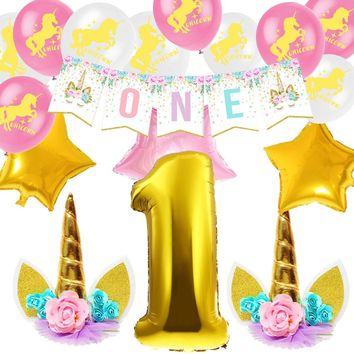 "ZLJQ 17pcs Unicorn Theme Party Supplies ""ONE"" Banners Number""1"" Balloon For 1st Birthday Girl Birthday Decorations Baby Shower"
