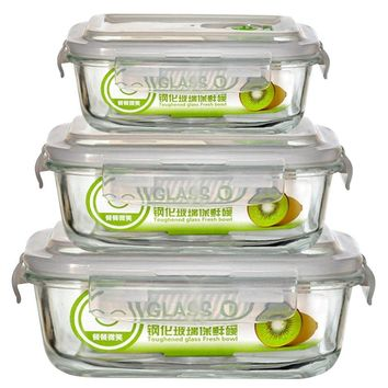 3 Size 1PCS High Quality Tempered Glass Food Container Transparent Microwave Glasslock Food Storage Container Box