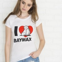 White I love Baymax Big Hero 6 t-shirt