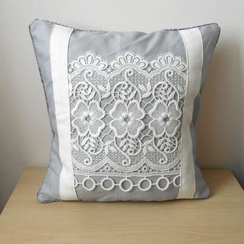 Grey Throw Pillow, Lace Pillow Cover, Decorative Throw Pillow, Pillow Cover 16x16, Grey White Decor, White Lace Pillow, Modern Cushion Cover