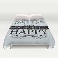 Take Time - Blue Duvet Cover by Mockingbird Avenue