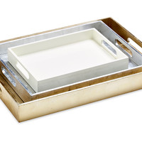 Asst. of 3 Metallic Trays, Gold/Silver, Decorative Trays