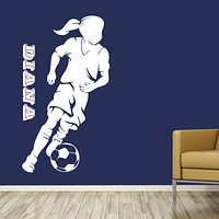 Soccer Decal - Your Girl's Name On The Wall