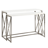 Glossy White / Chrome Metal 2Pcs Console Table Set