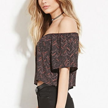 Abstract Print Off-the-Shoulder Top