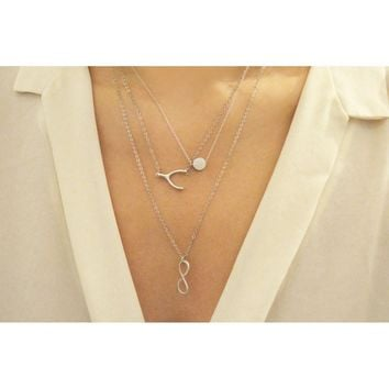 Set of 3 layering HEART necklace