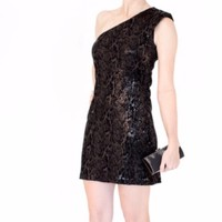 Halston Heritage Sequin One Shoulder Black Dress