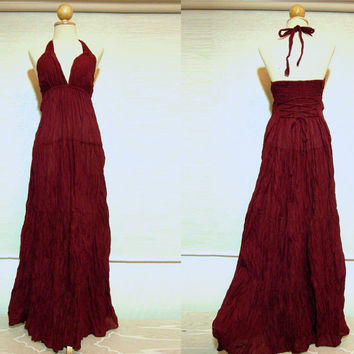 Red Halter Maxi Dress  Long Floor Length Evening Gown by idea2wear