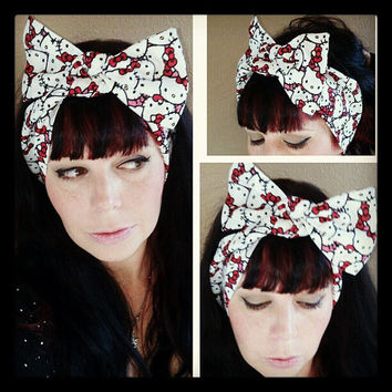 Kitty Headwrap Bandana Hair Big Bow Tie 1940s 1950s Vintage Style
