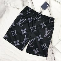 Louis Vuitton LV Fashion New Monogram Print Women Men Sports Leisure Shorts Black