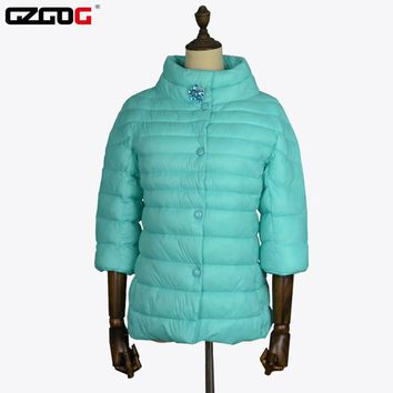 High-quality 2016 new spring autumn women jacket half sleeve high collar thin Quilted Jacket 4 colors women thin jacket