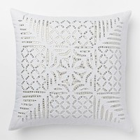 "Sequin Cutwork Pillow Cover – Silver (16""Sq.)"