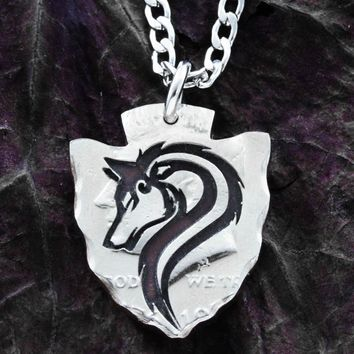Tribal Wolf Arrowhead Necklace, Hand cut coin