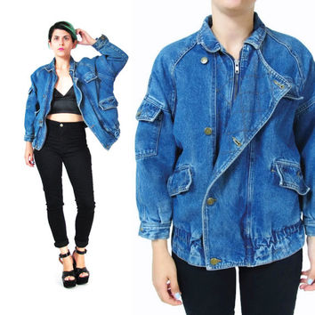 80s Denim Bomber Jacket 1980s Slouchy Jean Jacket Medium Wash Denim Quilted Jacket Hipster Womens Jean Jacket Pockets Boyfriend (XS/S)