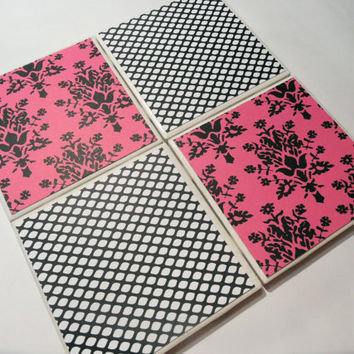 Hot Pink and Black Floral Damask and Fishnet Pattern Ceramic Coasters - set of 4 - Chic / Paris decor