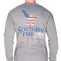 American Hound Long Sleeve Pocket Tee in Grey by Southern Fried Cotton