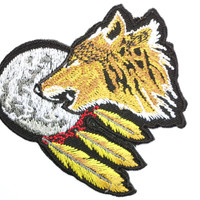 "DREAM CATCHER Wolf Moon Embroidered Iron On Patch 3.1""/8m"