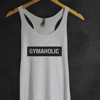 GYMAHOLIC Tank Top in Heather White Color- Workout Tank Tops - Motivational T-shirt - Gym Shirt for Women - Women's Workout Tee-Cup of tee