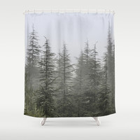 """Foggy forest"". Retro series. Shower Curtain by Guido Montañés"