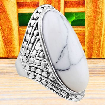 Exotic Crack Oval Vintage Look Antique Silver Plated Ring