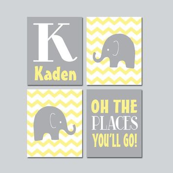 Yellow Gray ELEPHANT Decor Canvas or Prints Baby Boy Nursery Elephant Wall Art, Yellow Gray Boy Elephant Nursery Decor Quote Set of 4