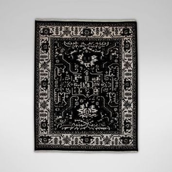Heriz Deconstructed Rug, Black/Ivory