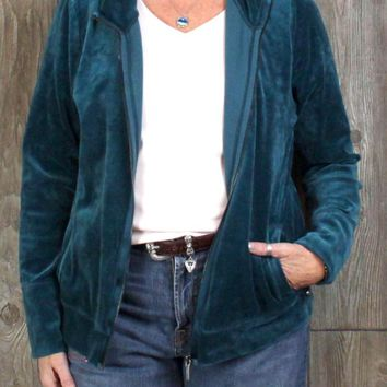 Talbots XL size Zip Velour Cardigan Sweater Jacket Teal Blue Womens Pockets Soft