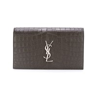 SAINT LAURENT YSL Women's Grey Crocodile Clutch 400409