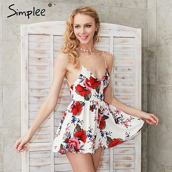 Simplee Summer beach boho floral print overalls Backless sexy bodysuit women jumpsuit romper Club white chiffon playsuit leotard