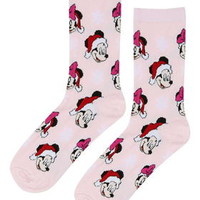 Christmas Minnie and Mickey Socks - Pale Pink