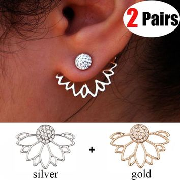 2Pairs Fashion Lotus Diamond Stud Earrings Fashion Crystal Flower Earrings Charm Jewelry