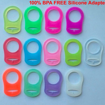 50pcs Clear food grade BPA Free silicone baby mam pacifier chain holder rings NUK dummy rings attache sucette