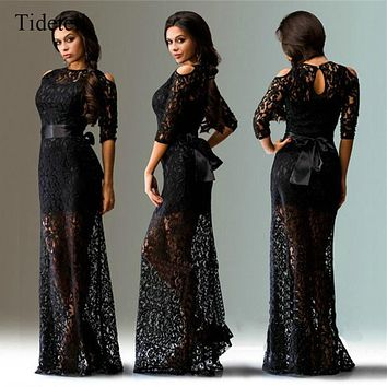 Tidetell Hot Sale Long SexyScoop Neck Three Quarter Floor-Length Evening Dress See-Through Lace Hollow Cocktail Dress 2017