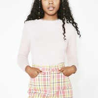 Cropped Plaid Mini Skirt