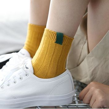1pair/lot Soild Colors Cotton Socks for Women Striped Soft Socks Black White Sox Girls Fashion Meias Solid Casual Sock